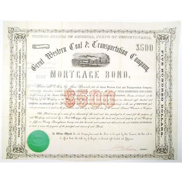 Great Western Coal & Transportation Co. 1857 Issued Bond