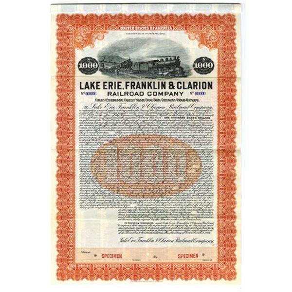 Lake Erie, Franklin & Clarion Railroad Co., 1913 Specimen Bond