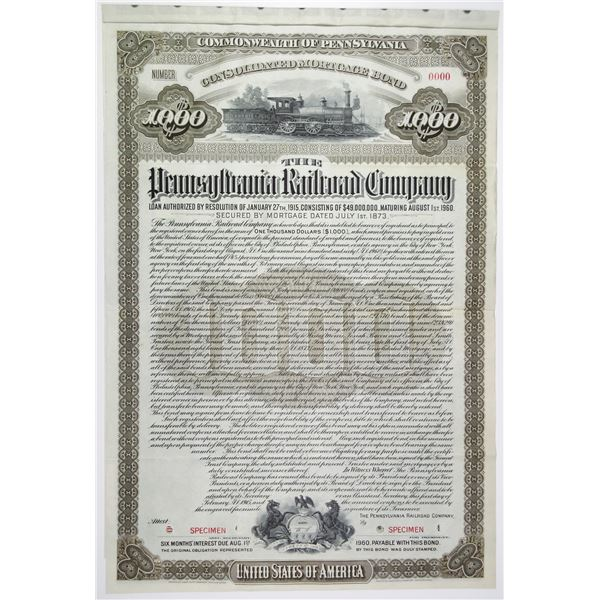 Pennsylvania Railroad Co. 1915 Specimen Bond