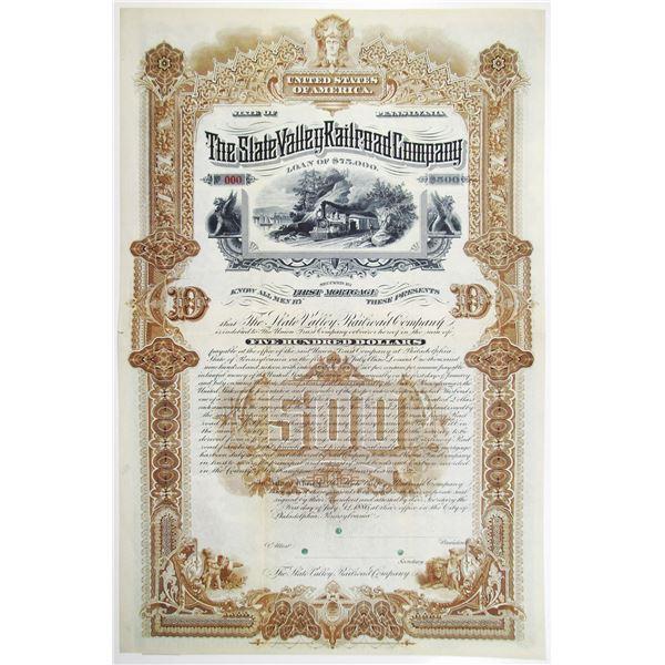 Slate Valley Railroad Co. 1886 Specimen Bond Rarity - Possibly Unique.