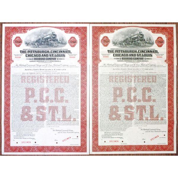 Pittsburgh, Cincinnati, Chicago and St. Louis Railroad Co. 1944 Specimen Bond Pair.
