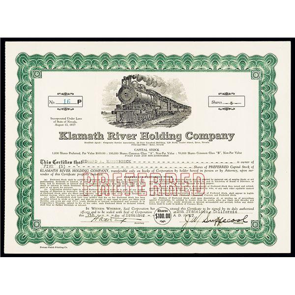 Klamath River Holding Co. 1927 I/U Stock Certificate.