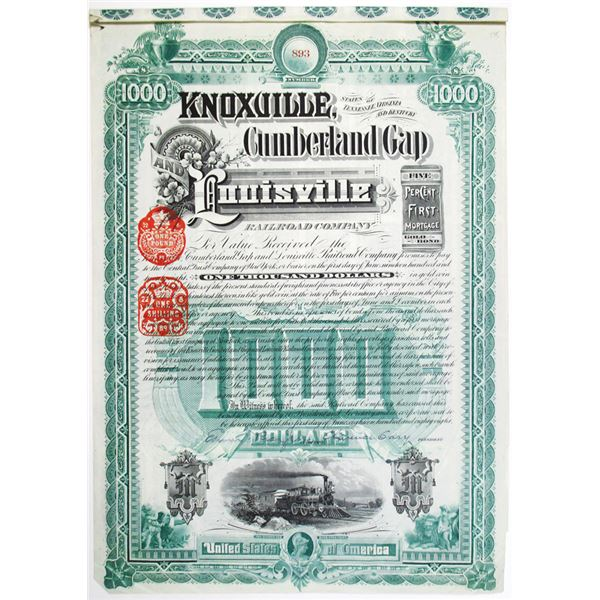 Knoxville, Cumberland Gap and Louisville Railroad Co. 1888 Issued Bond