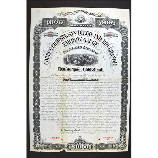 Corpus Christi, San Diego & Rio Grande Narrow Gauge Railroad Co. 1880 Specimen Bond Rarity