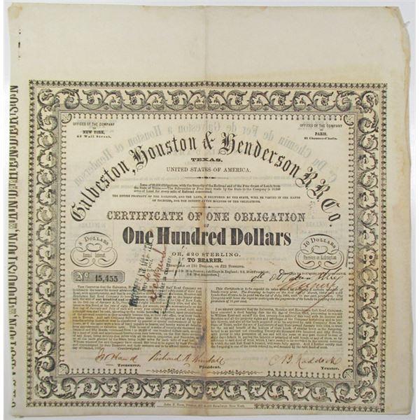 Galveston, Houston & Henderson Railroad Co. 1857 I/U Bond
