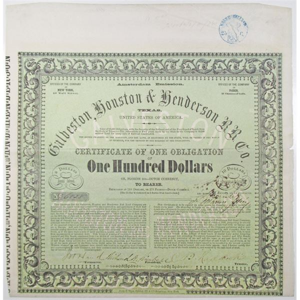 Galveston, Houston & Henderson Railroad Company, Amsterdam Emission, 1857 I/U Bond