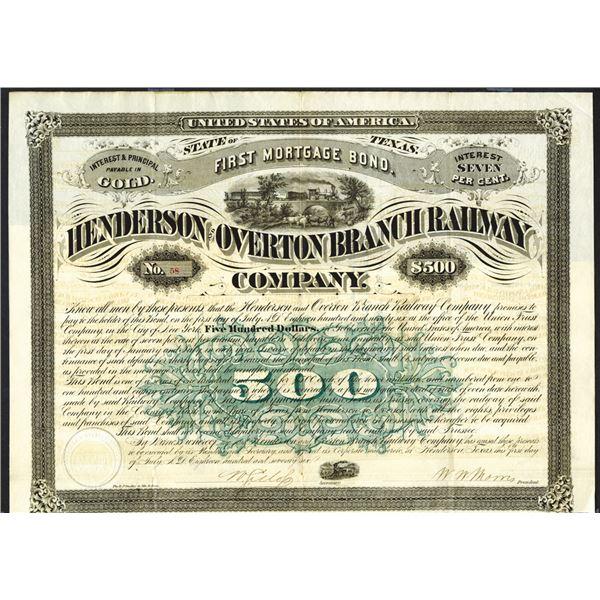 Henderson & Overton Branch Railway Co., 1876 I/U Bond.