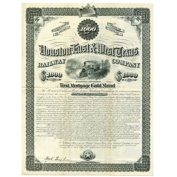 Houston East & West Texas Railway Co., Eastern Division, 1878 Issued Bond.