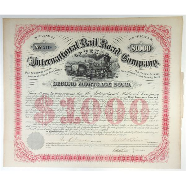 International Rail Road Co., 1874 I/U Coupon Bond Signed by Galusha Grow.
