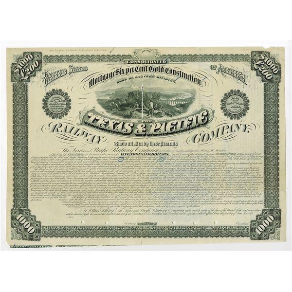 Texas & Pacific Railway Co. Eastern Division 1875 Specimen Bond Rarity