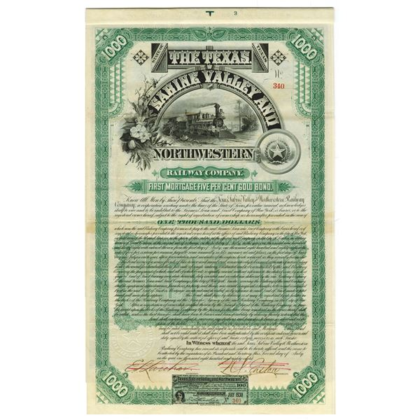 Texas, Sabine Valley and Northwestern Rail Way Co., 1888 Issued Bond