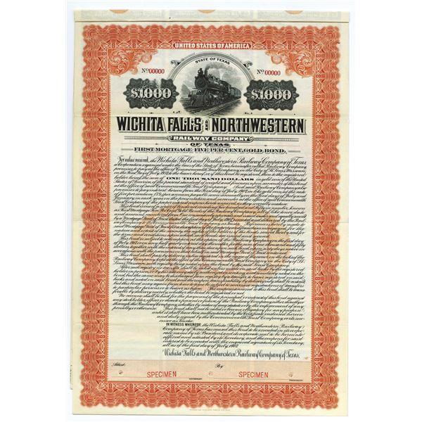 Wichita Falls and Northwestern Railway Co. of Texas, Specimen Bond.