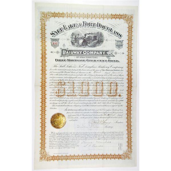 Salt Lake & Fort Douglass Railway Co. 1884 I/U Bond Signed by Brigham Young's Son John  as president