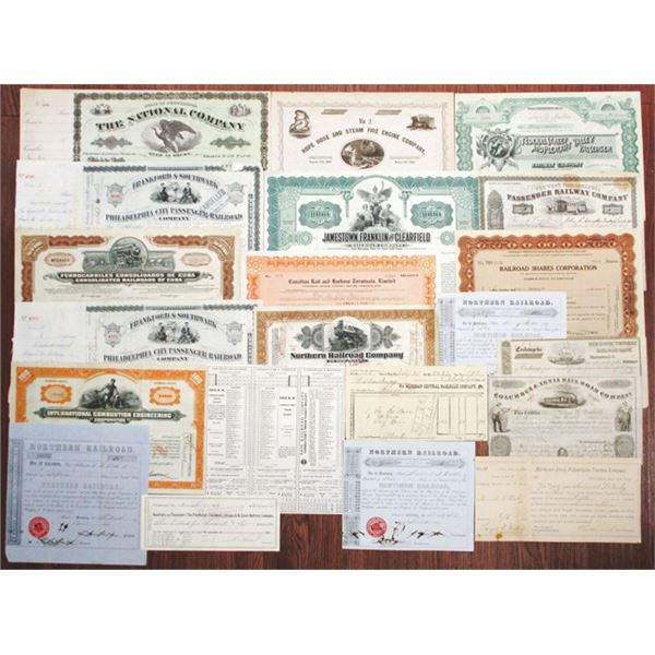 Group of Railroad Stock Certificates, Bonds, and Ephemera