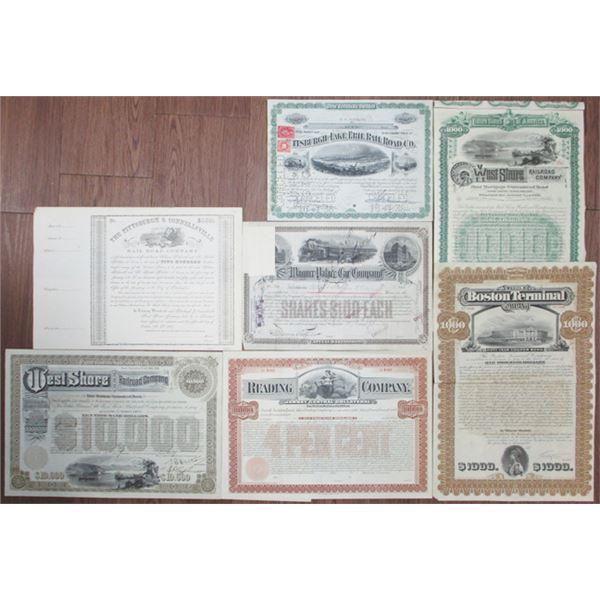 Pennsylvania, New York and Massachusetts Group of 7 Railroad Stocks and Bonds