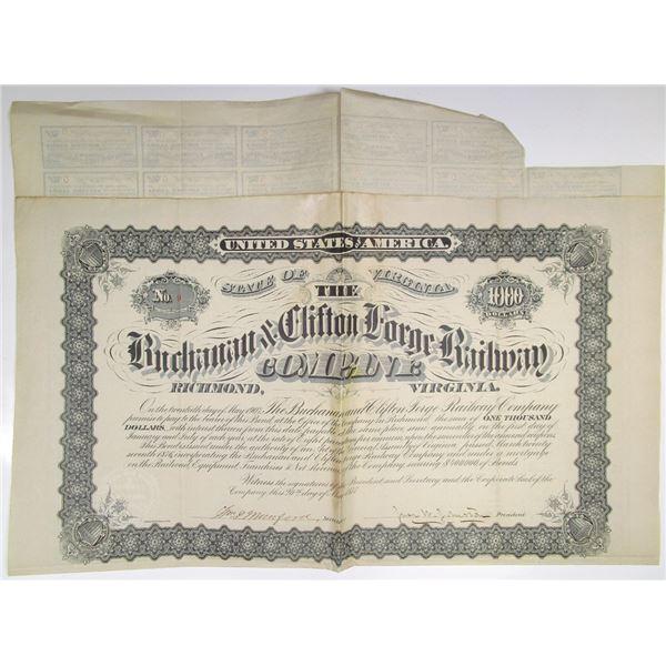 Buchanan & Clifton Forge Railway Co. 1877 Issued Bond #9 Rarity