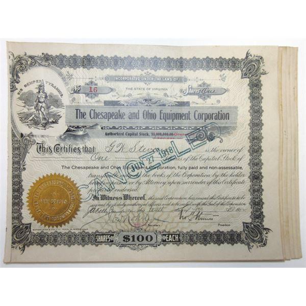 Chesapeake & Ohio Equipment Corporation 1912-36 Share Certificates Group