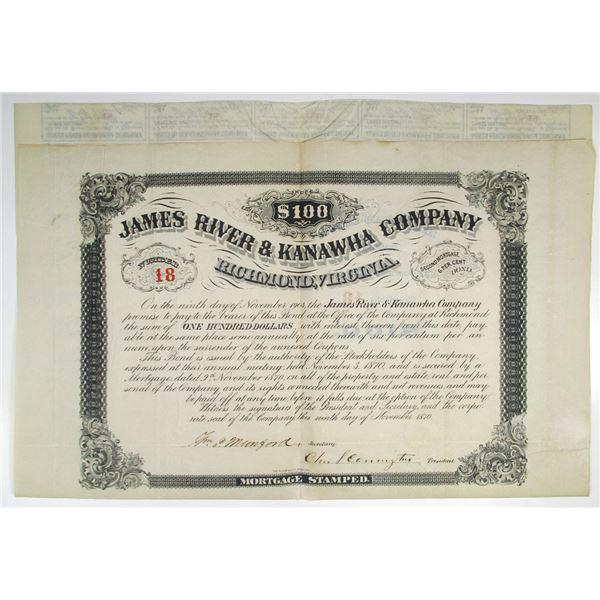 James River & Kanawha Co. 1870 I/U Bond #18