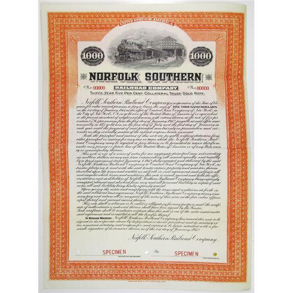 Norfolk Southern Railroad Co. 1912 Specimen Bond Rarity