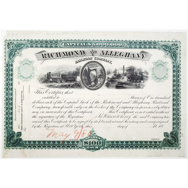 Richmond and Alleghany Railroad Co. 1880's Proof Stock Certificate