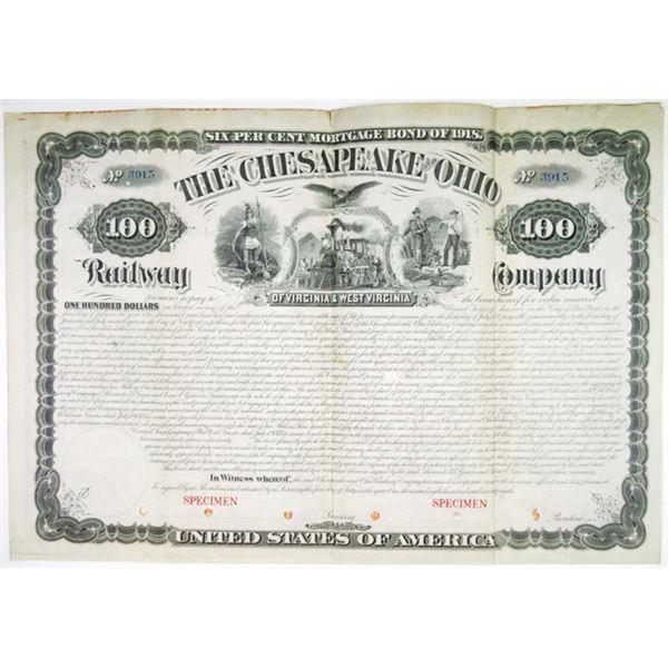 Chesapeake and Ohio Railway Company of Virginia & West Virginia. 1878 Unlisted Specimen Bond Rarity