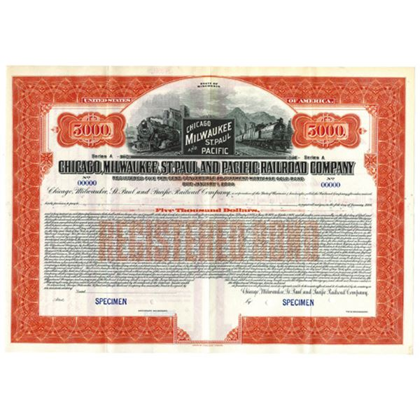 Chicago, Milwaukee, St. Paul and Pacific Railroad Co., 1925 Specimen Bond