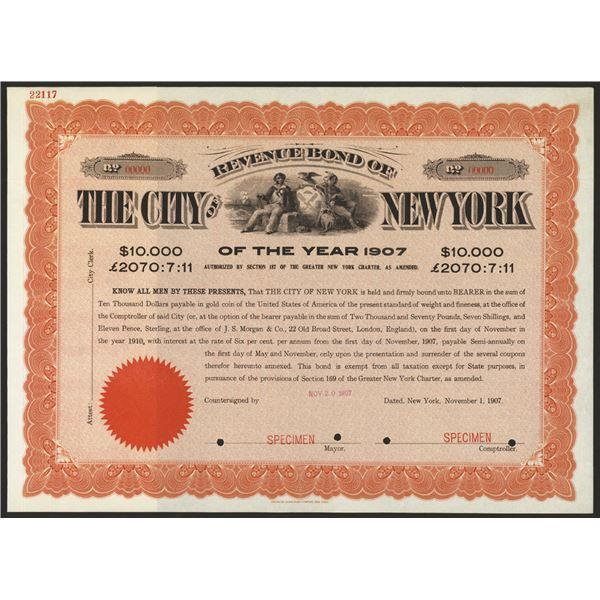 Revenue Bond of the City of New York of the Year 1907, Specimen Bond.