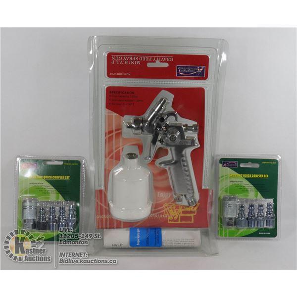 SEALED ITEMS MINI H.VIP GRAVITY FEED SPRAY GUN W/SEALED 2 ZINC 5 PACK QUICK COUPLER SETS