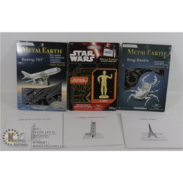 SET OF 3 METAL EARTH 3D LASER CUT MODEL KITS STAR WARS, BEETLE, BOEING 747 W/3 OTHERS LASER CUT MODE