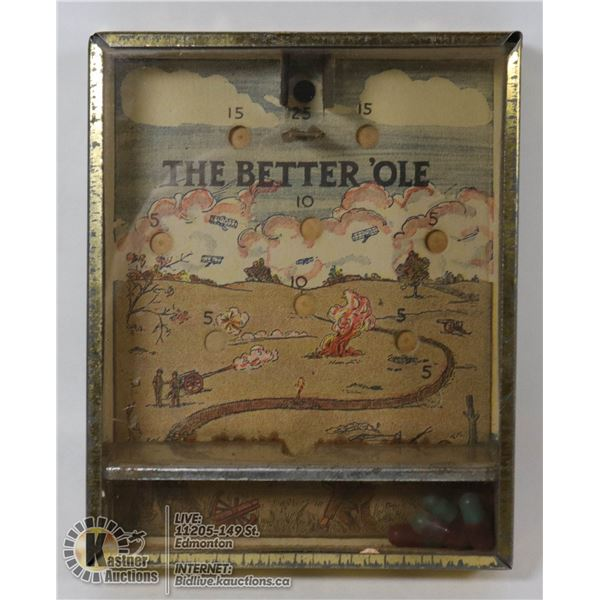 """VINTAGE 1940'S - 1950'S HANDHELD BEAN GAME """"THE BETTER OLE"""" MADE IN CANADA """"TESTED"""""""