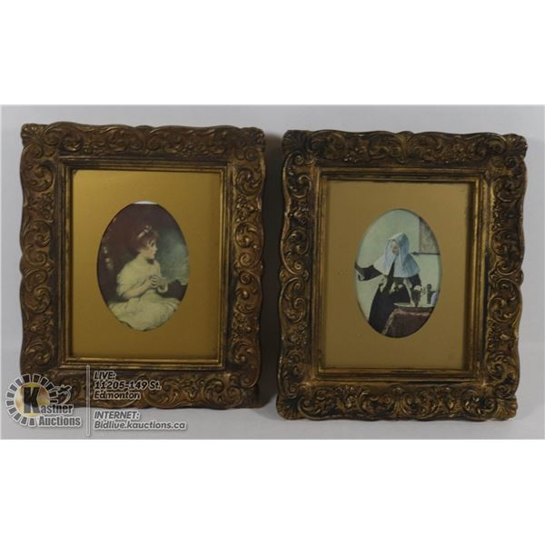 ANTIQUE FRAMED 2 PRINTS #30 AGE OF INNOCENCE REYNOLDS & #10 YOUNG WOMEN WITH WATER JUG VERMEER (LABE
