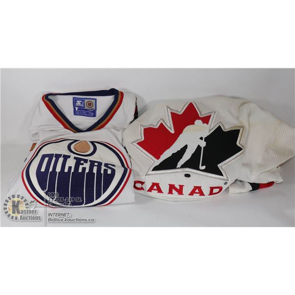 LOT OF 2 HOCKEY JERSEYS SZ L -TEAM CANADA & OILERS SOME IMPERFECTIONS