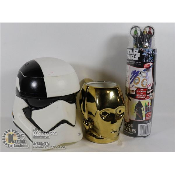 BOX OF STAR WARS ITEMS C3PO CERAMIC MUG, STORM TROOPER PLASTIC COOKIE JAR, ACTIVITIES BIN