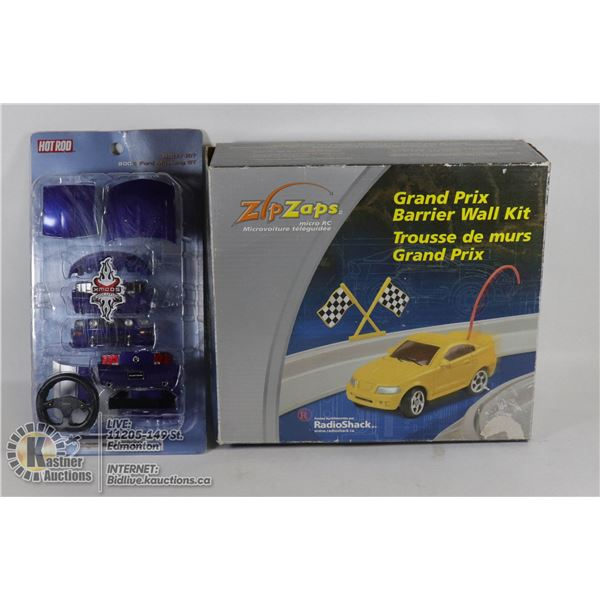 """VINTAGE ZIP ZAPS MICRO RC 2002 GRAND PRIX BARRIER WALL KIT #60-7511 """"COMPLETE"""" W/SEALED 2006 HOTROD"""