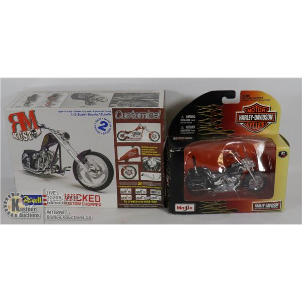 HARLEY DAVIDSON MAISTO OFFICIAL DIECAST MOTORCYCLE #31360 (UNREMOVED FROM BOX)W/2007 REVELL WICKED C