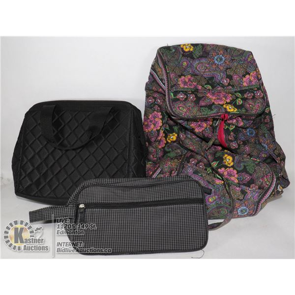 ASSORTMENT OF 3 CARRYING BAGS - ALL NEW FLORAL PATTERN DUFFLE BAG -  18 INCHES WIDE, 8 INCHES HIGH A