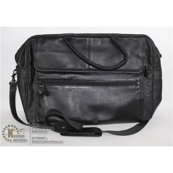 BLACK LEATHER ATTACHE/LAP TOP BAG BRAND NEW.  17 INCHES WIDE, 12 INCHES HIGH AND 4.5 INCHES DEEP.  I