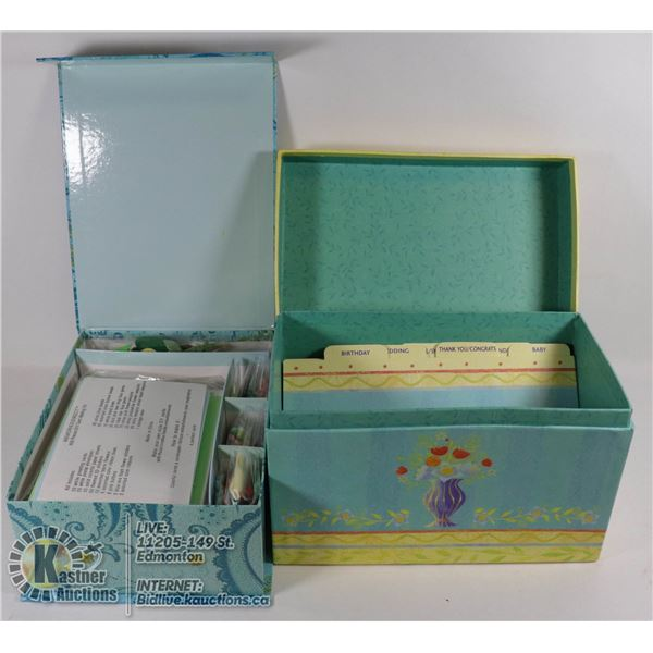 GREETING CARD MAKING KIT BY MEMORIES DIRECT BRAND NEW.  609 PIECES, PRETTY STORAGE BOX, 50 WHITE CAR