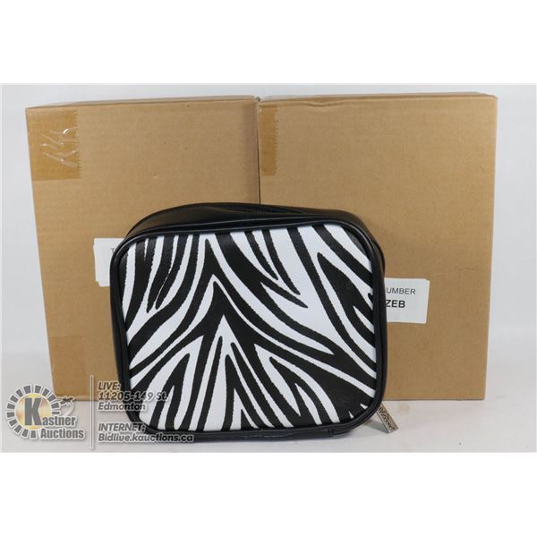TWO JEWELLERY STORAGE POUCHES BY PREZERVE BLACK WITH ZEBRA PRINT - NEW IN BOXES.  7 SEE-THROUGH POCK