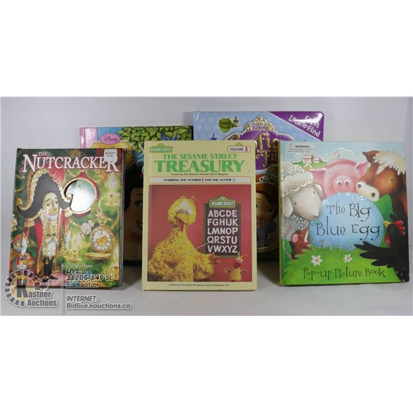 SOFIA THE FIRST,SNOW WHITE,MY SIDE OF STORY ,ETC THE BIG BLUE EGG+POP UP BOOKS