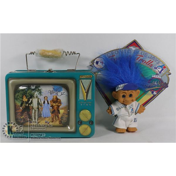 VANDER WIZARD OF OZ 2000 BEST FRIENDS TV TIN TOTE #71069 (UNUSED W/1992 TORONTO BLUE JAYS TROLL LIMI