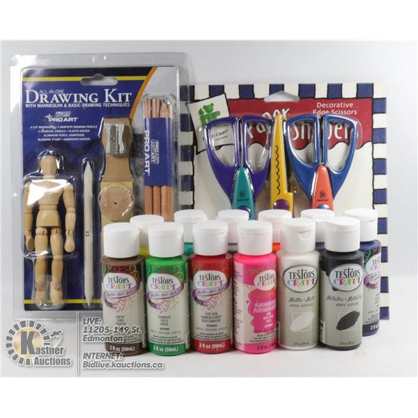 NEW ITEMS 12 TESTORS CRAFT ACRYLIC PAINT 59 ML BOTTLES VARIETY OF COLORS W/PROART ALL IN ONE DRAWING