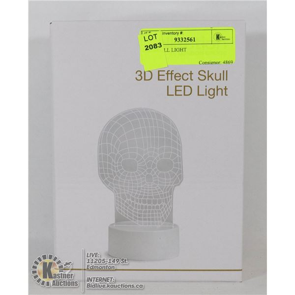 LED SKULL LIGHT BATTERY OPERATED, NEW IN BOX.  REQUIRES 3 AA BATTERIES (NOT INCLUDED)- NONE