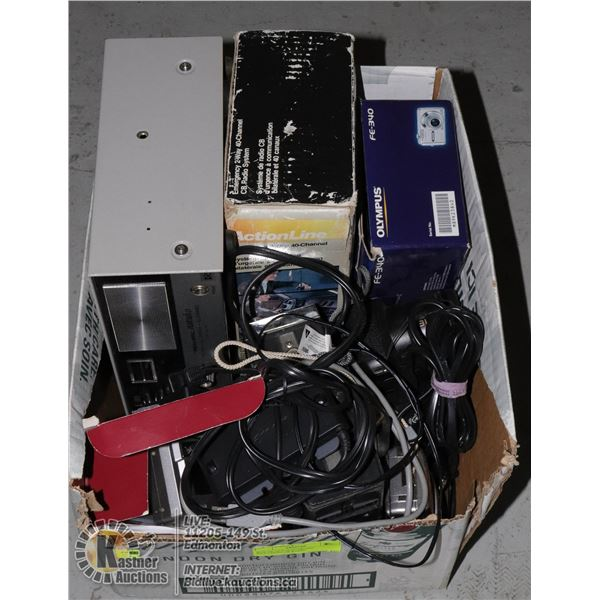 BOX OF OLD ELECTRONIC INCLUDING CB RADIO