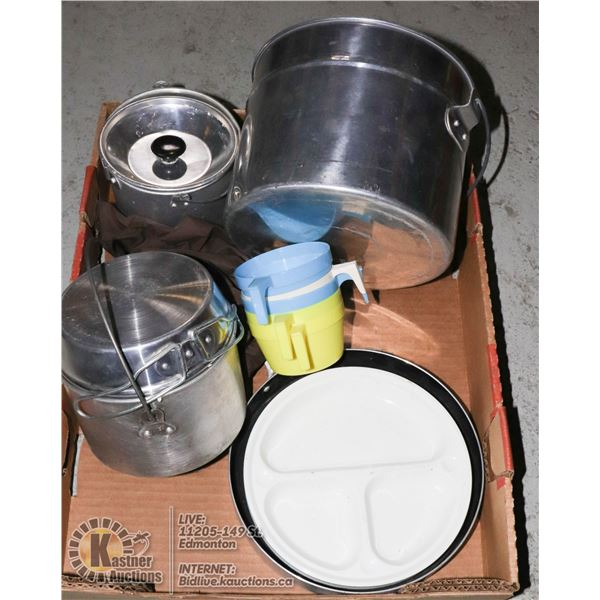 CAMPING COOKWARE - FRYPAN, 3 POTS, CUPS AND PLATES