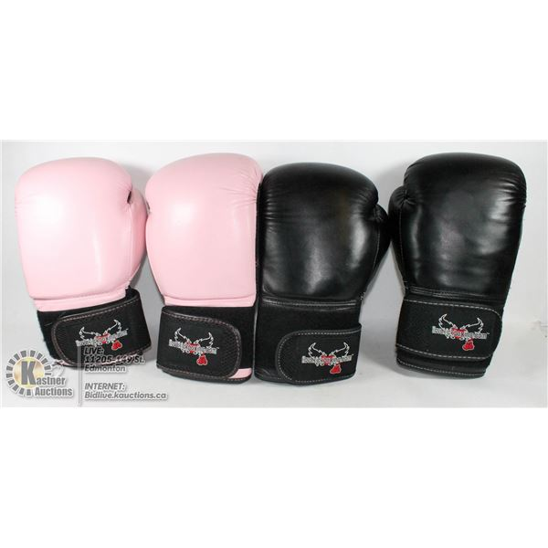 BOX W/ TWO PAIRS KICKBOXING GLOVES.