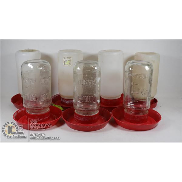 LOT OF 1 LITRE POULTRY WATERERS USED