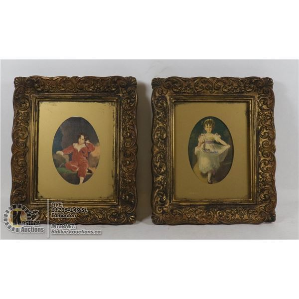 ANTIQUE FRAMED 2 PRINTS #58 MASTER LAMBTON LAWRENCE & #59 MISS MURRAY LAWRENCE (LABELLED AT BACK) MA
