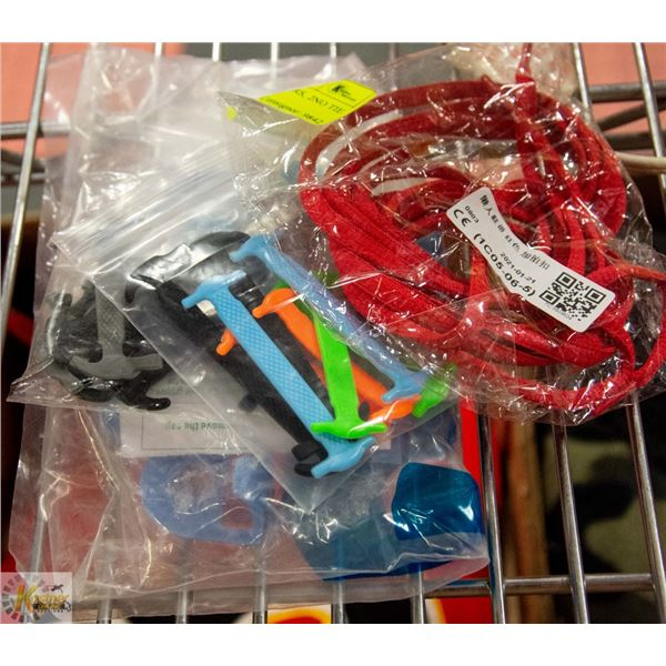 2 TOOTH PASTE SQUEEZERS, 2NO TIE SHOE LACES & 2MAGNETS RED,  4SETS SILICONE NO TIE SHOE LACES, 4SETS