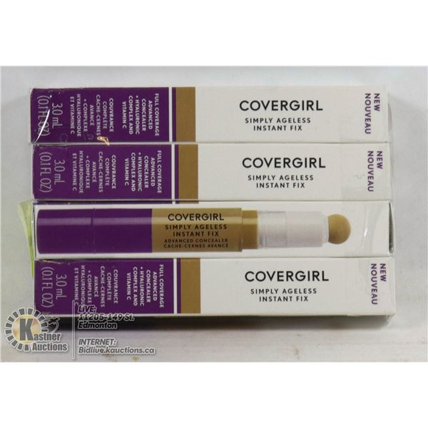 LOT OF 4 COVERGIRL SIMPLY AGELESS INSTANT FIX FULL COVERAGE ADVANCED CONCEALER + HYALURONIC COMPLEX